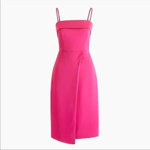 J Crew Hot PInk  Fold Over Dress
